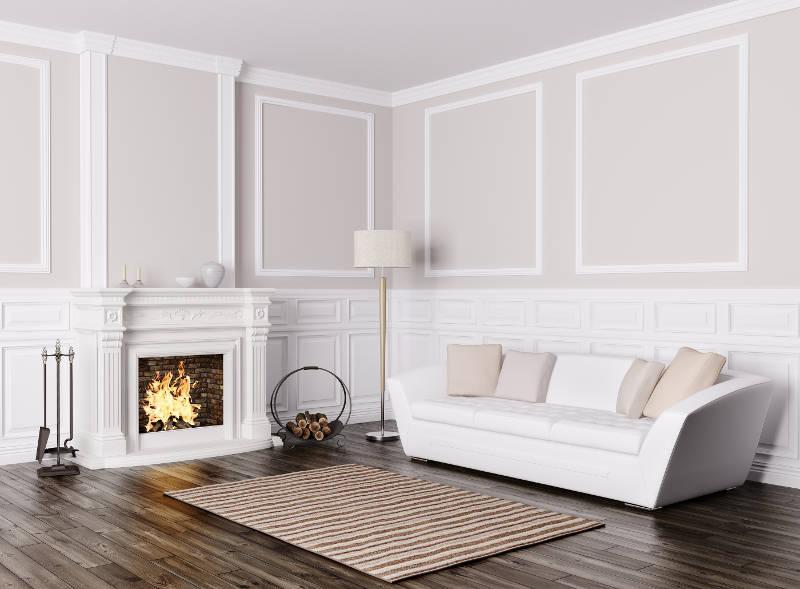 a rug too close to a fireplace