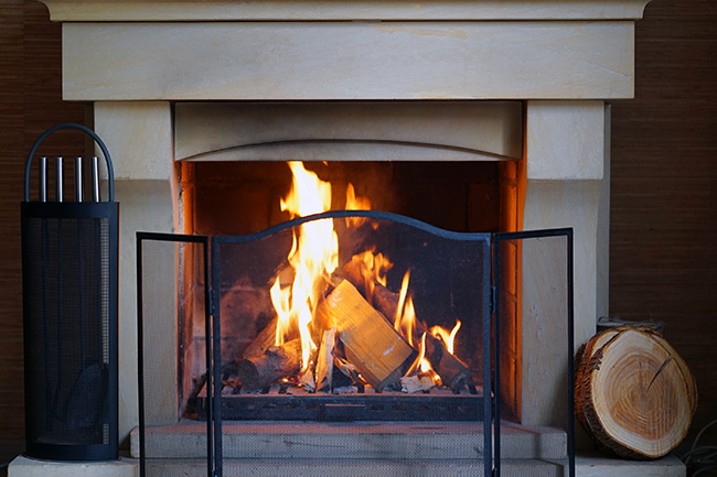 traditional wood burning fireplace