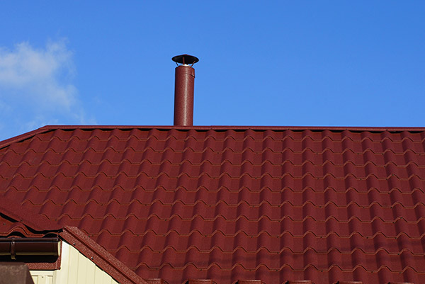 red roof and a red chimney liner