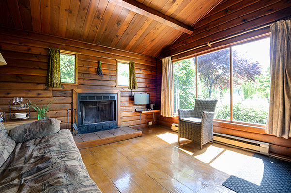 fireplace inside a cabin home