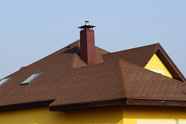 chimney with brown tiles